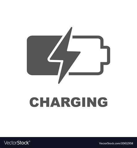 battery charging icon black sign  white vector image