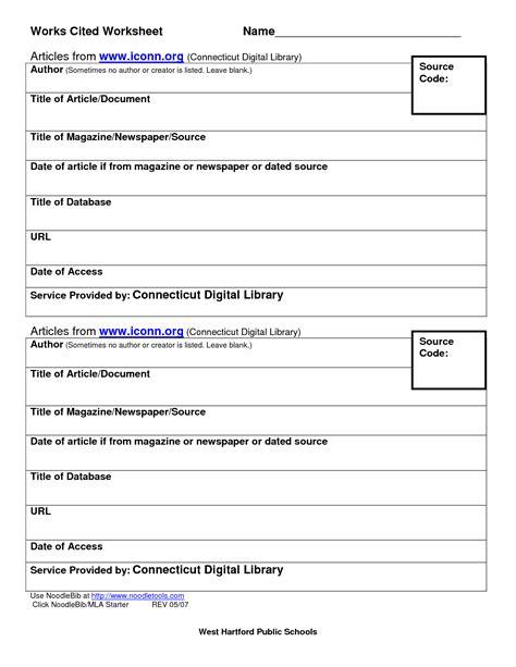 Works Cited Practice Worksheet Kidz Activities Mla Practice Template