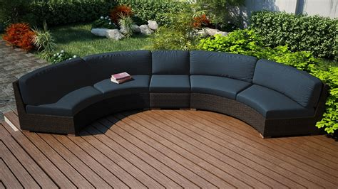 harmonia living arden  piece wicker curved sectional set