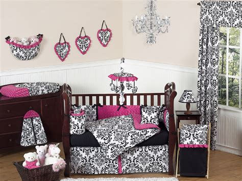 Pink Black Crib Bedding Pink Black And White Damask Bedding