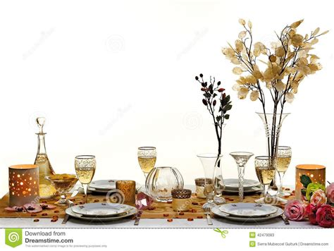 fancy place setting dinner table stock photo image 42479083