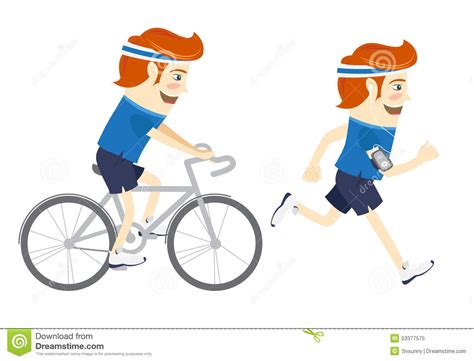 witzige wandlen set of sportsmen cycling and running flat