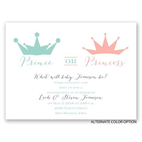 Paper Prince Wedding Invitations by Prince Or Princess Gender Reveal Invitation