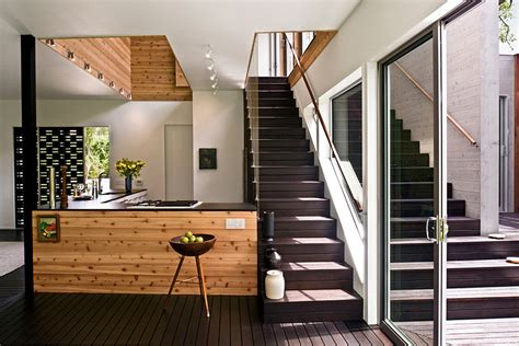 home design kitchen upstairs house on restrictive narrow lot with loft like interior plan digsdigs