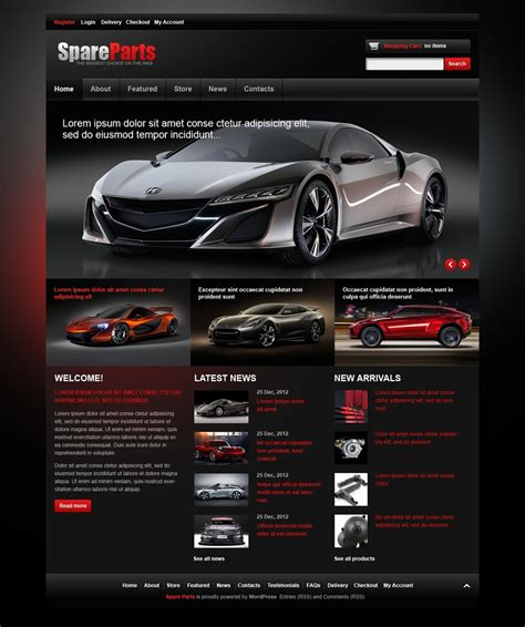Spares For Luxury Cars Jigoshop Theme 43072 Car Website Design Templates