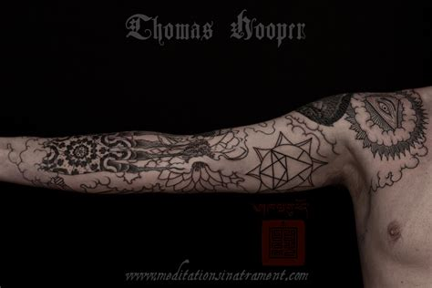 hand of glory tattoo hawk of and skull sleeve by