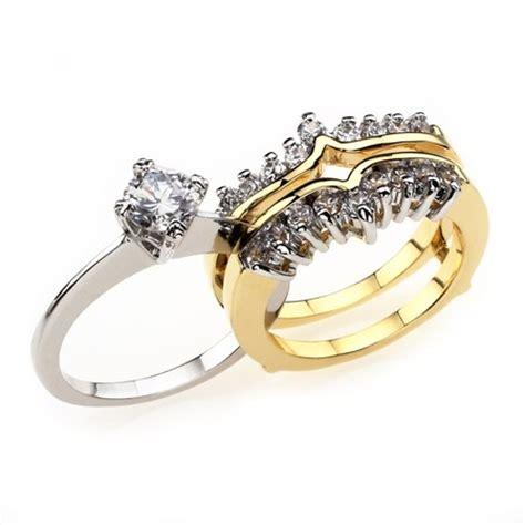 2 tone wedding ring sets two tone estelle s cz wedding set inspired silver