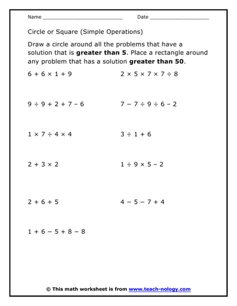 Free Printable Order Of Operations Worksheets by Free Coloring Pages