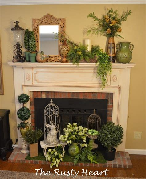 rusty heart designs spring mantel vignettes decor