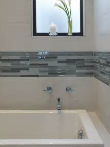 Glass Bathroom Tile Ideas Downstairs Bathroom White Subway Tile In Shower Stall With Glass Mosaic Inserts Bathroom