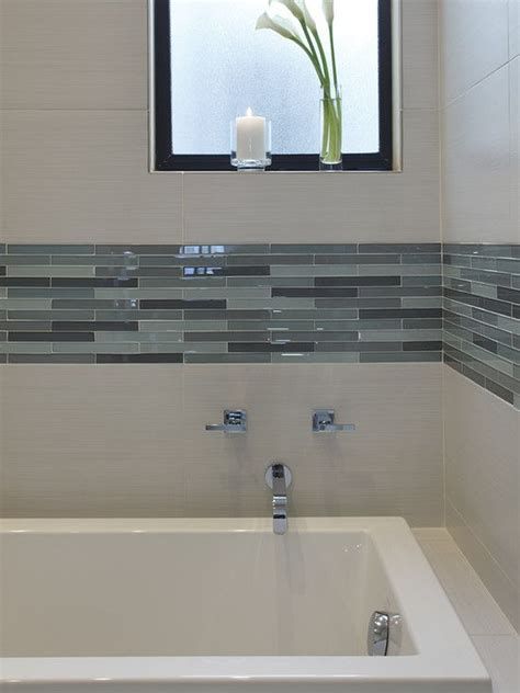 Modern Bathroom Tiling Ideas Downstairs Bathroom White Subway Tile In Shower Stall With Glass Mosaic Inserts Bathroom