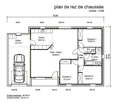 plan de maison 3 chambres plain pied plan maison en v plain pied gratuit 10 maison de plain