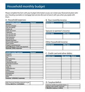 free household budget templates sle monthly budget 9 documents in pdf word