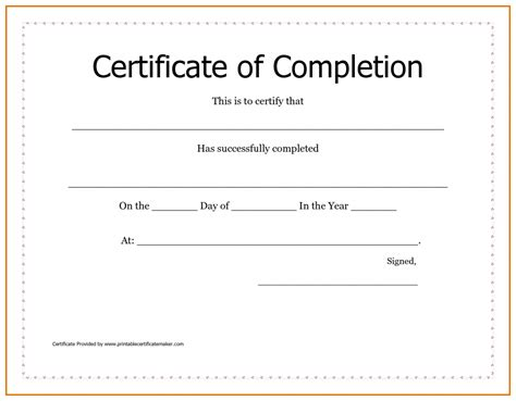 certification of completion template free printable certificates of achievement sle receipt