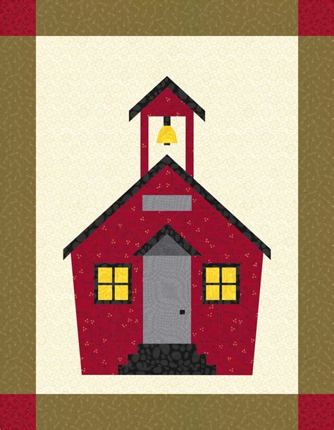 pattern house school house quilt block pattern paper pieced by patternbrat