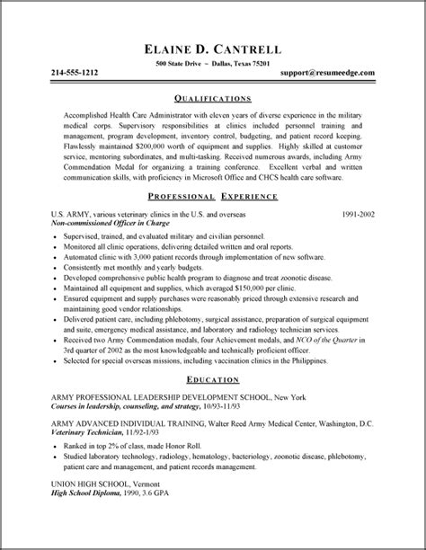 entry level healthcare administration resume exles