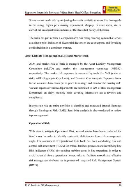 Vijaya Bank Letter Of Credit vijaya bank internship report