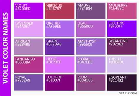 names of purple list of colors with color names graf1x com