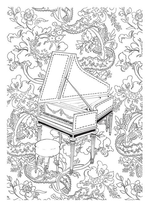 Art Therapy coloring page Music : Harpsichord 4
