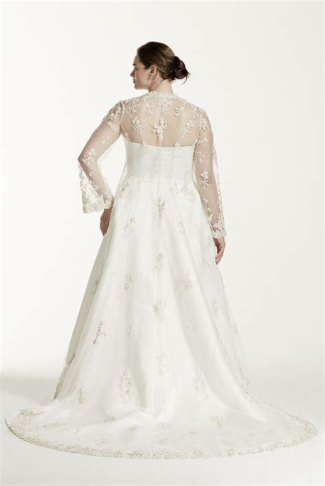 beaded lace jacket david s bridal plus size wedding dress with beaded lace