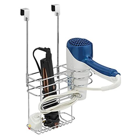 Flat Iron And Hair Dryer Holder In Polished Chrome interdesign classico cabinet hair care tools holder storage caddy for dryer curling