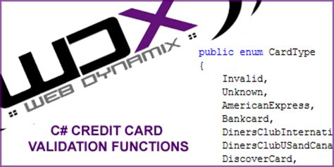 Credit Card Form Validation Exle Wdx C Credit Card Validation Functions Codeproject