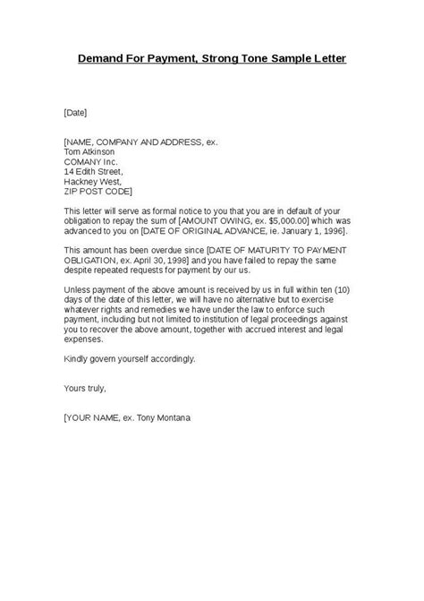 sle business letter demand payment sle business letter