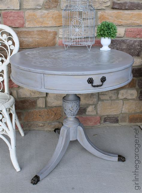 distressed stenciled round table makeover in the