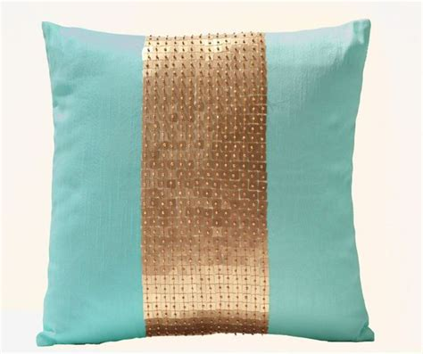 Teal Color Pillows For Couches Teal Pillow Covers Teal Gold Color Block In Silk And