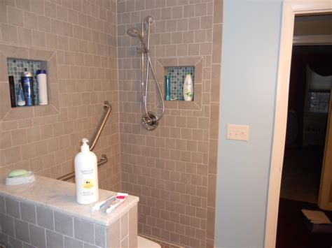 bathroom divider ideas grey mosaic ceramic tile horizontal shower niche with