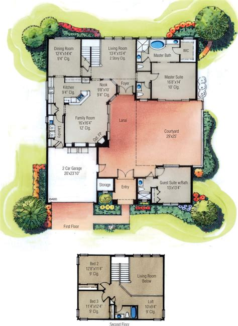 courtyard house plan house plans with courtyard in center icf house plans