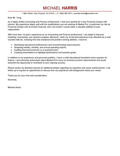 Cover Letter For Accounting by Best Accounting Finance Cover Letter Exles Livecareer