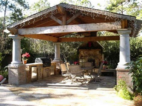 covered outdoor kitchen cost landscaping gardening backyard covered patio design