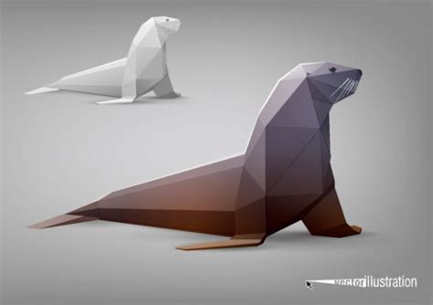 Walrus Origami - origami walrus of paper free animal vectors