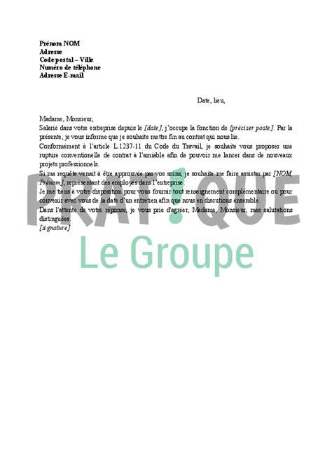 Demande De Lettre Pour Rupture Conventionnelle Lettre De Demande De Rupture Conventionnelle Du Contrat De Travail Pratique Fr