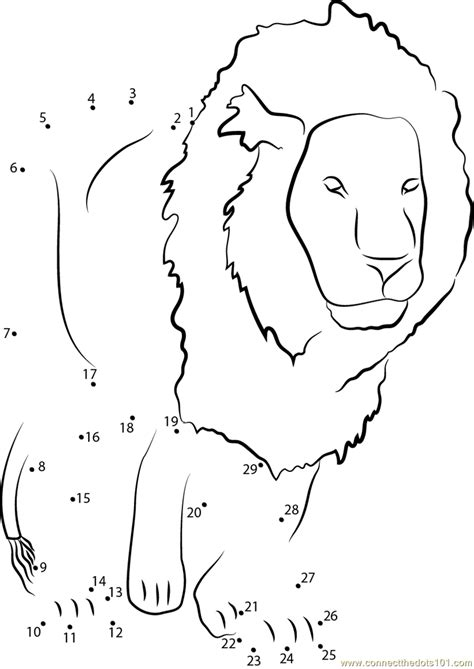 printable animal dot to dots lion dot to dot printable worksheet connect the dots
