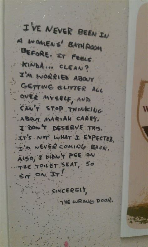 funny bathroom writing i ve never been in women s bathroom before funny
