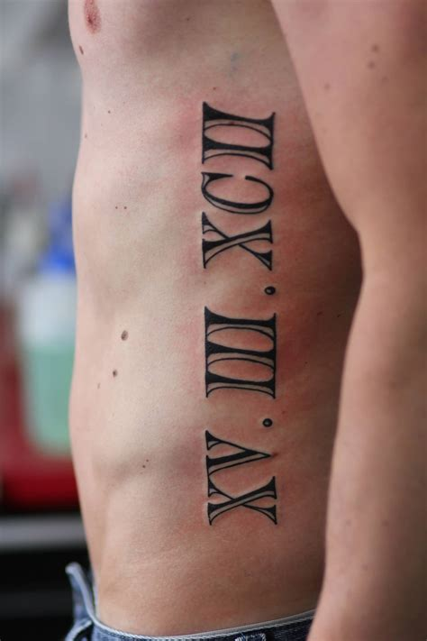 roman numeral tattoo on ribs beautiful numerals on side rib for