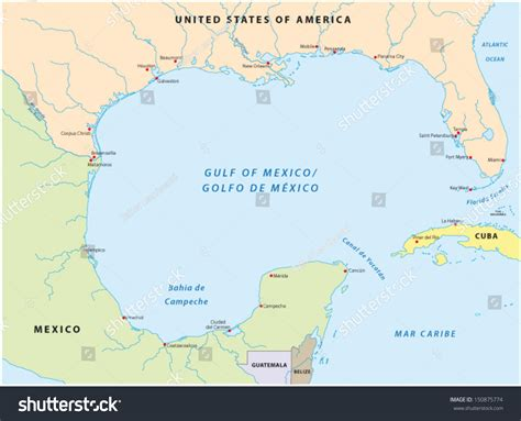map of gulf of mexico gulf mexico map stock vector 150875774