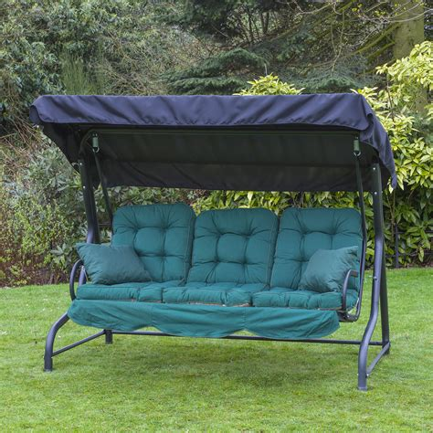 swing seat cushions homebase garden patio 3 seater black swing seat hammock with
