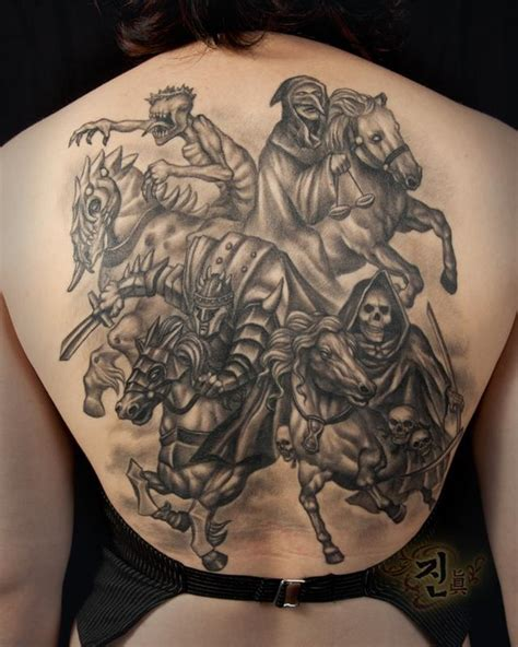 four horsemen tattoo the map tattoos back chest four
