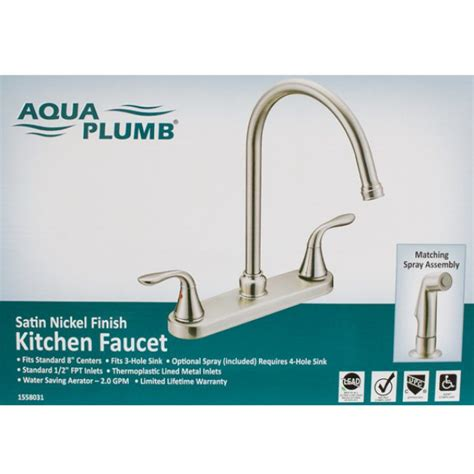 Aqua Plumb Kitchen Faucet by Freendo Noble Kitchen Single Handle Faucet Satin Nickel