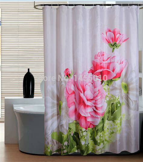 180 inch shower curtain polyester terylene red peony waterproof shower curtain