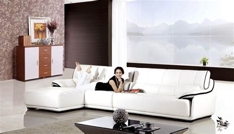 Genny Set genny genuine white leather modern sectional set
