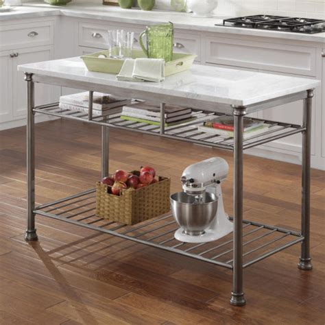 Marble Top Kitchen Island Cart | orleans kitchen island with marble top modern kitchen