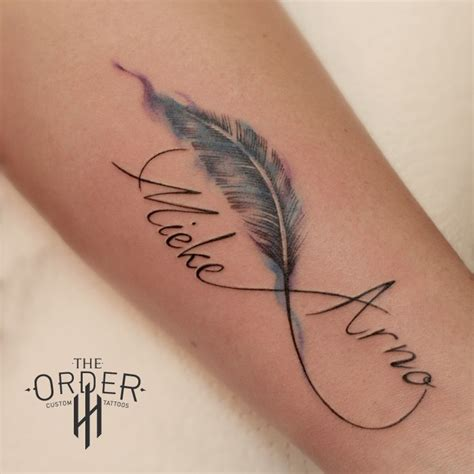 tattoo feather with name watercolor feather and names tattoo the order the