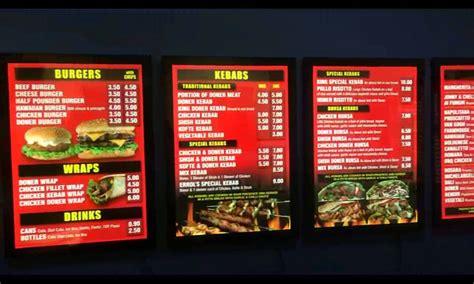 restaurants with light menus led menu boards lightboxes