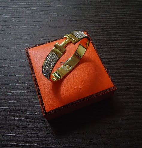 h ermes swarovski authentic hermes h bangle quot clic clac narrow bracelet m