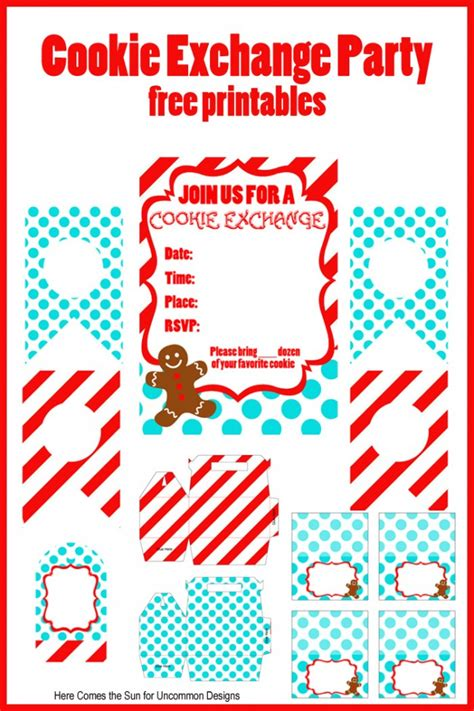 cookie exchange party free printables uncommon designs