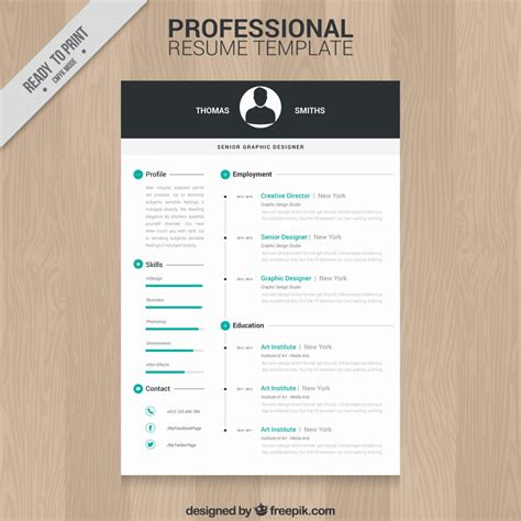 Professional Resume Template by 10 Top Free Resume Templates Freepik